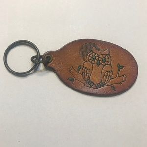 Accessories - Handmade Leather Owl Stamped Retro Keychain